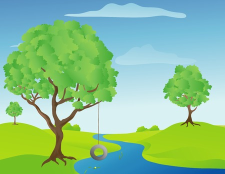 Illustration of a tree swing by a stream on a warm sunny spring day Illustration