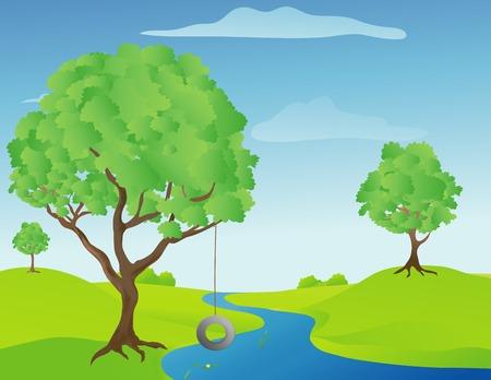 summer tires: Ilustraci�n de un �rbol de oscilaci�n de un arroyo en un c�lido y soleado d�a de primavera
