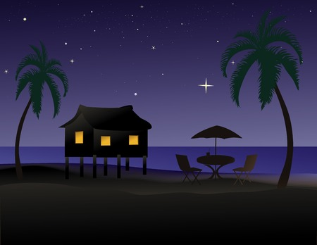 Vector illustration of a tropical beach at night with a hut