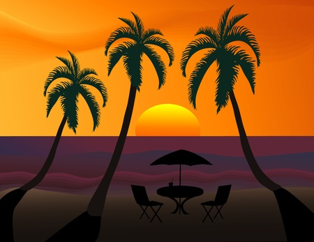 Tropical sunset with beach table and palm trees silhouetted