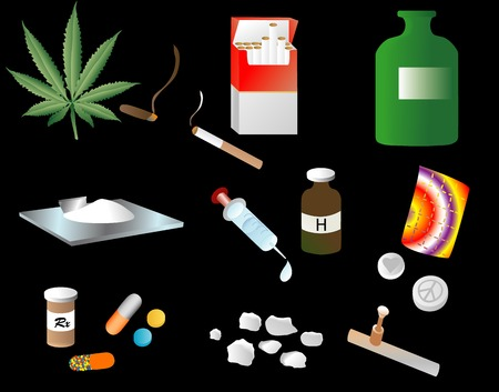 unlawful: Illustration depicting various street drugs Illustration