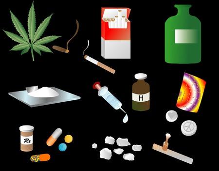 Illustration depicting various street drugs Illustration