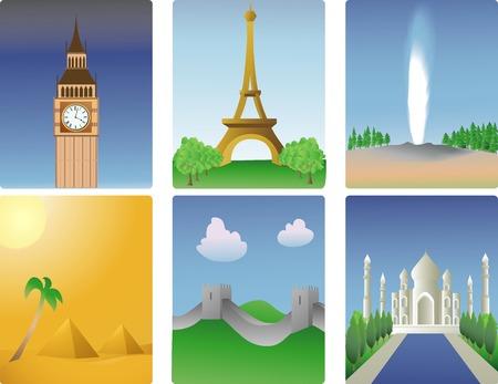 Vector illustration of various world destinations