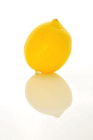 lemon on white background with reflection Stok Fotoğraf