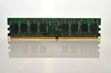 reflective: computer memory chip on a white reflective background
