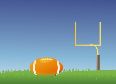 grass field: American style football field with a football in it Illustration