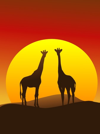 vertical composition: Silhouette of Giraffes on the Serengeti, vertical composition