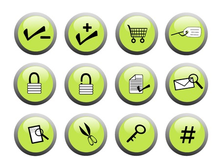 set of green business icon buttons with black and white icons Stock Vector - 3297604