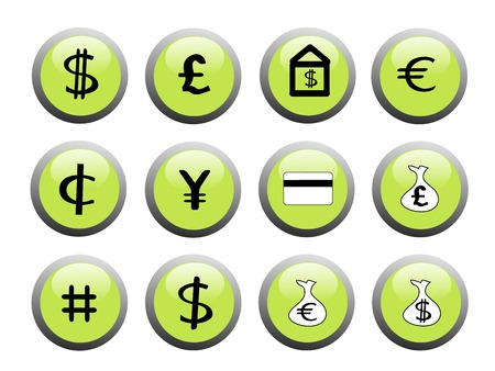 黒と白のアイコンに緑色の金融アイコン ボタンのセット