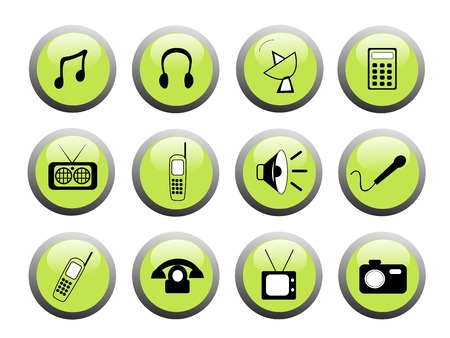 set of green media icon buttons with black and white icons Illusztráció