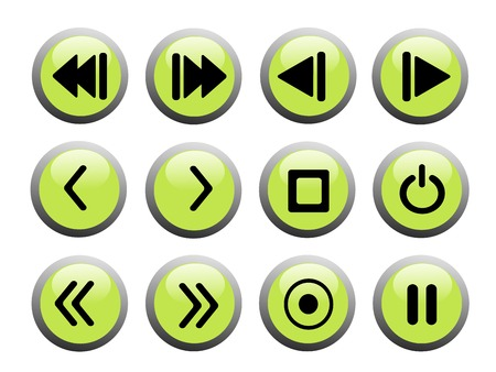 reverse: set of green and black recording sign icons Illustration