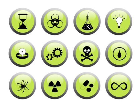 green button set with blackwhite science themed icons