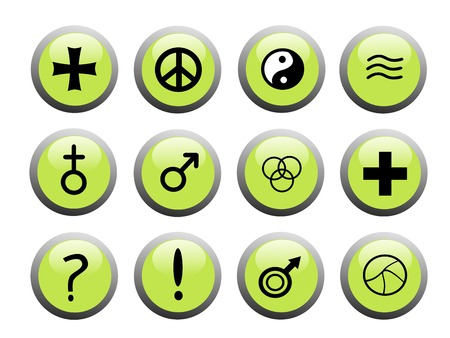 set of green icon buttons with black and white popular symbols and signs Stock Vector - 3297879