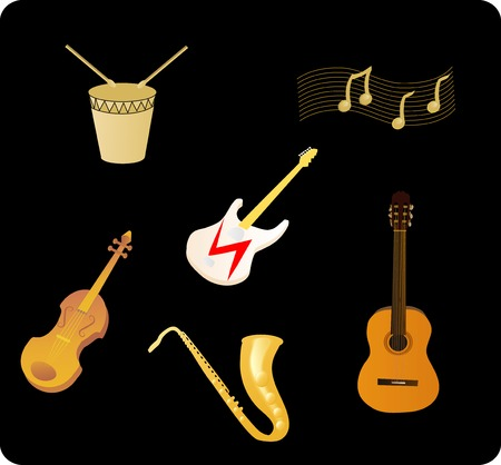 vector illustration of various musical instruments
