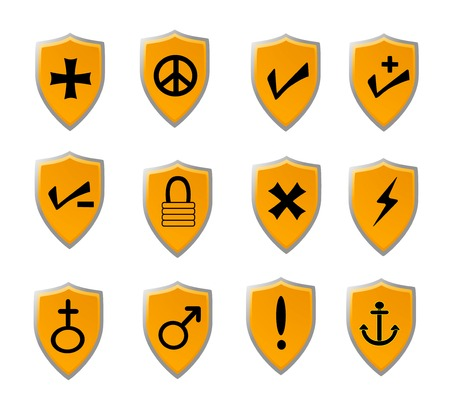 Orange shield icon set with black icons of various popular signs and symbols Stock Vector - 3297945