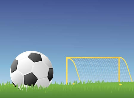 grassy: Soccer ballFootball in a green grassy field with a goalpost