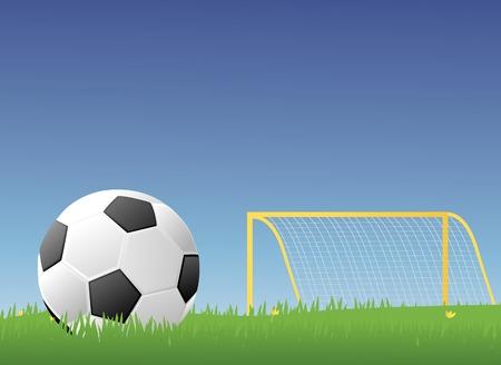 grassy field: Soccer ballFootball in a green grassy field with a goalpost