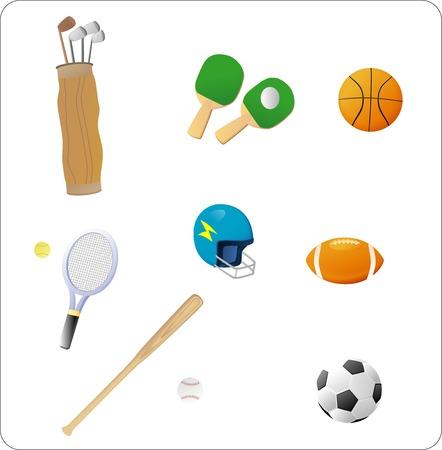sporting goods: Conjunto de diversos art�culos deportivos