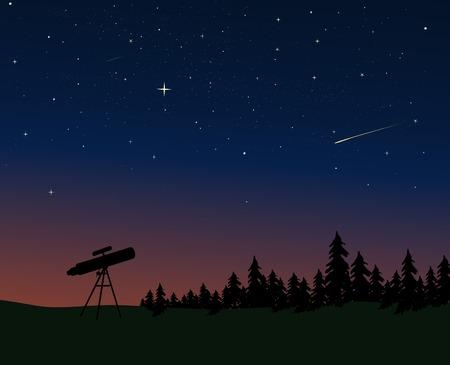 Telescoop aftekenen tegen de schemer  nacht hemel