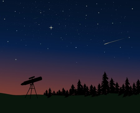 Telescope silhouetted against the dusk/night sky Stock Vector - 3299131