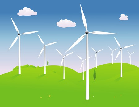 hilly: Modern power generating windmills in a hilly landscape