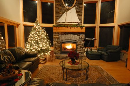 Christmas eve scene in a living room