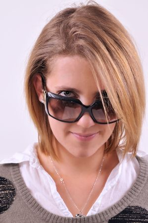 Young lady wearing sunglasses photo