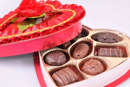 Valentines day heart shaped box of candies