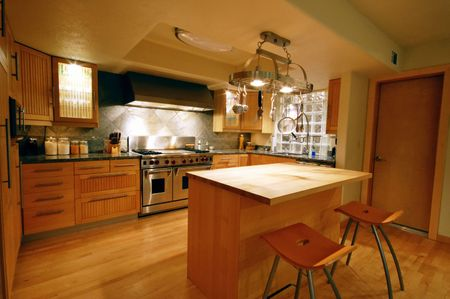 drawers: upscale wooden kitchen in a new house