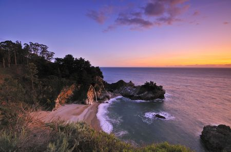 mcway: McWay Falls at Julia Pfeiffer Burns State Park Big Sur California Stock Photo
