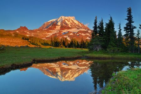 Sunset Photo of Mt. Rainier reflected in a tarn