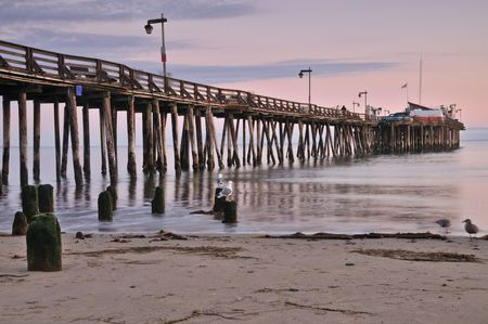 Seagulls at sunset by a pier near Capitola photo