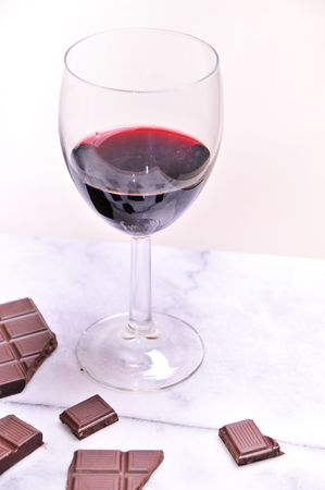 glass of port dessert wine with chocolate