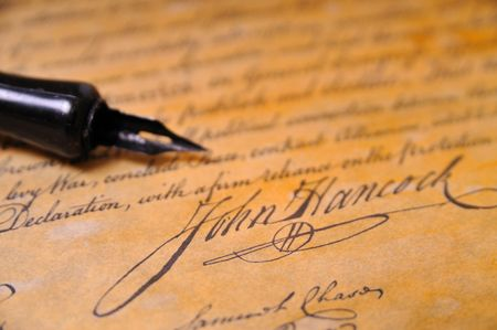 autograph: John Hancocks famous signature on the Declaration of Independence Stock Photo