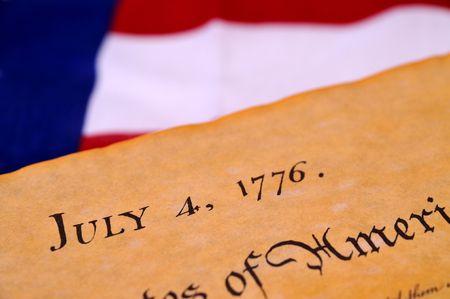 insurrection: Declaration of Independence with United States flag background