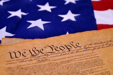Preamble to the US Constitution with the stars and stripes in the background Stock Photo - 5090652