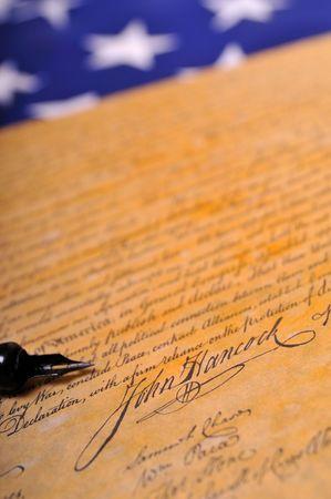 declaration: John Hancocks famous signature on the Declaration of Independence Stock Photo