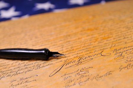 insurrection: John Hancocks famous signature on the Declaration of Independence Stock Photo
