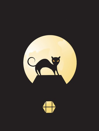 Black cat silhouetted in the moonlight on Halloween Illustration