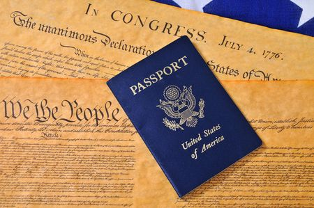 USA passport with Consittution, Declaration of Independence and flag photo