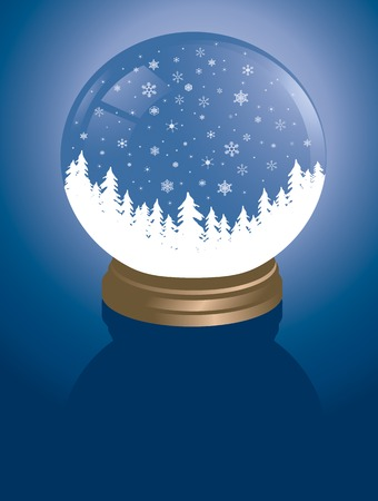 snowglobe with a white snowy alpine forest in winter Vector