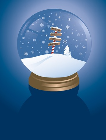 north pole sign: snowglobe with the north pole inside