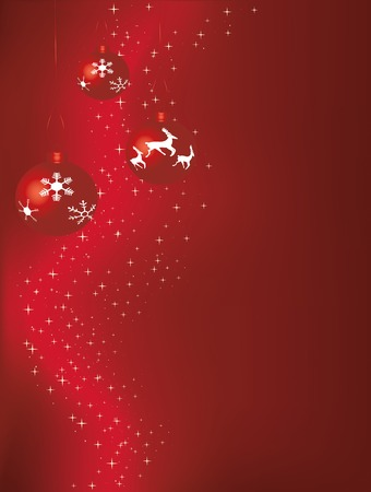 Red Christmas baubles against a starry background