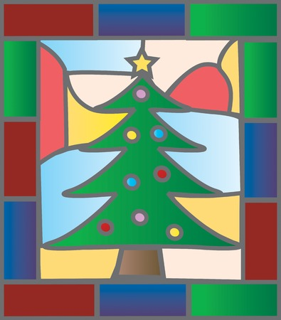 Christmas tree illustration in a stained glass window style Çizim