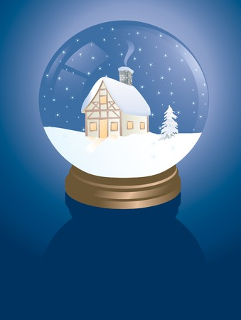 snowglobe with a winter cabin Vector