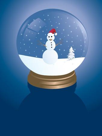 illustration d'un snowglobe avec un bonhomme de neige Vecteurs