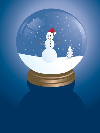 white winter: illustration of a snowglobe with a snowman