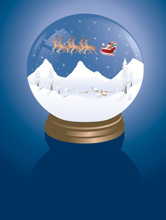 snowglobe with a winter village and santa with a sleigh Vector