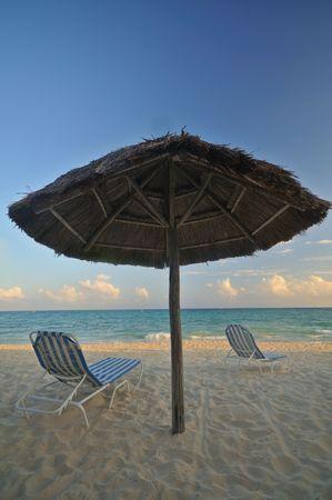 Palapa on a tropical beach in Playa Del Carmen
