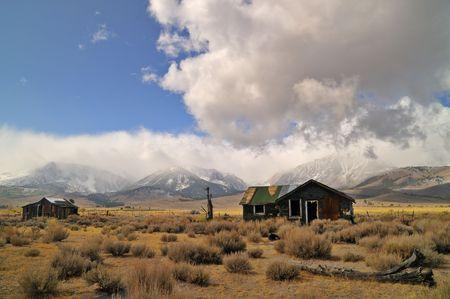 high sierra: Old delapidated shack on the high prarie of the Eastern Sierra in California